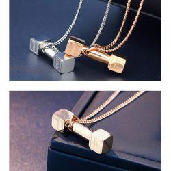 فروش گردنبند لاکچری طرح دمبل – زنجیر و پلاک استیل