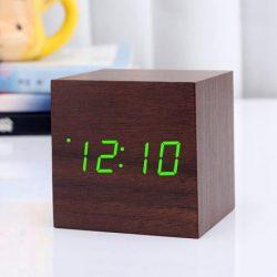 ساعت و دماسنج دیجیتال LED رومیزی چوبی سنسوردار