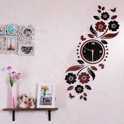 ساعت دیواری چوبی با روکش چرم گلسا رنگ قهوه ای
