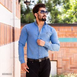 پیراهن مردانه جین Floy مدل T9694 آستین بلند رنگ آبی
