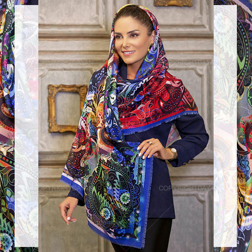 روسری بلند Marta مدل L9655 - شال و روسری با رنگبندی شاد