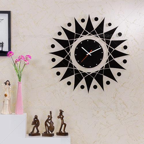 ساعت دیواری چوبی با روکش مخمل شیدا - ساعت دکوراتیو