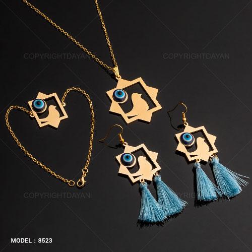 ست دستبند گوشواره و گردنبند زنانه پرستو رنگ طلایی
