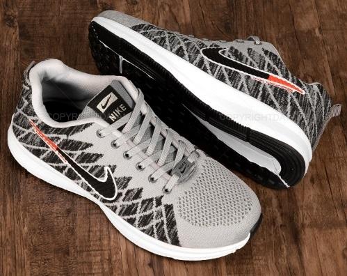 کفش مردانه نایکی Nike مشکی و طوسی - کتانی کفدوخت با رویه بافت