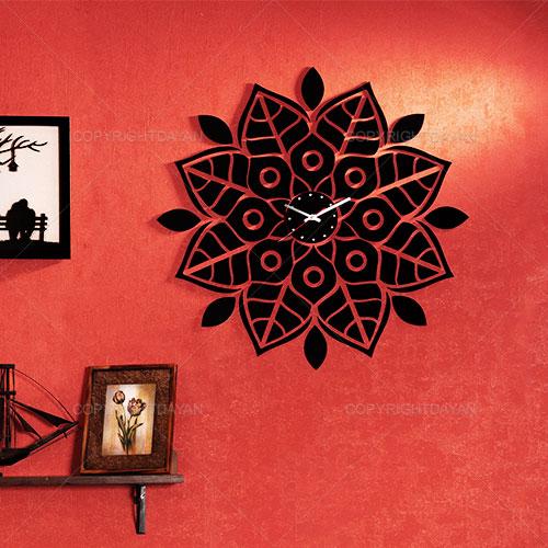 ساعت دیواری روکش مخمل افسانه - ساعت دیواری دکوراتیو چوبی با روکش مخمل