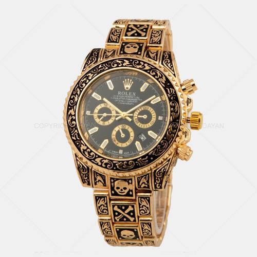 ساعت مچی Rolex طرح اسکلت – ساعت رولکس با بند طرح حکاکی