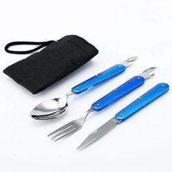 قاشق چنگال و چاقو مسافرتی تاشو - ست 5 کاره کمپین و مسافرت