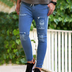 شلوار اسلش مردانه SALLi - شلوار طرح جین آبی کشی