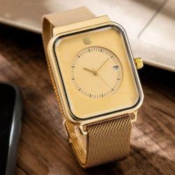 ساعت مچی مردانه Apple - ساعت مربعی طلایی اپل