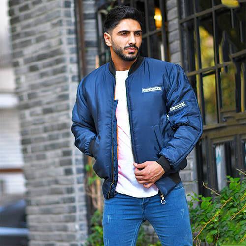 كاپشن مردانه مدل Bitash - کاپشن آبی با لایه پشم شیشه