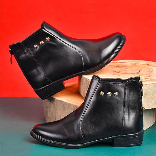 نيم بوت زنانه مشكي مدل Tarane - کفش ساقدار زنانه مشکی