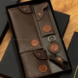 ست چرمی Movado مدل 12813 - ست هدیه چرمی به همراه جعبه
