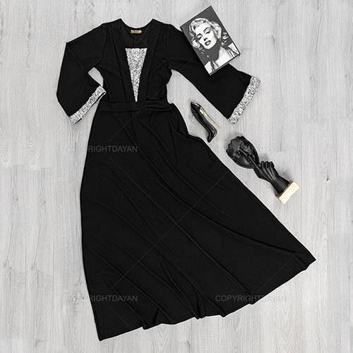 پیراهن زنانه Deniz مدل 16576 - پیراهن بلند مشکی دنیز