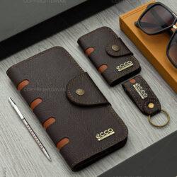 ست چرمی Ecco مدل 16201- پک کیف و جاسوئیچی هدیه
